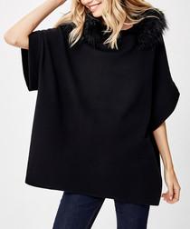 Black wool blend faux fur poncho