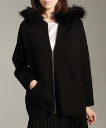 Black wool & silk blend zip cardigan