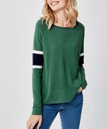 Green & navy wool blend jumper