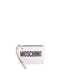 White leather logo zip-top pouch