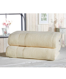 2pc cream cotton bath sheet bale