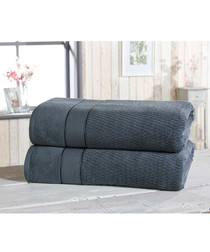 2pc denim cotton bath sheet bale
