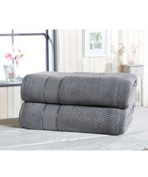 2pc grey cotton bath sheet bale