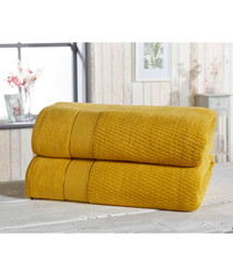 2pc ochre cotton bath sheet bale