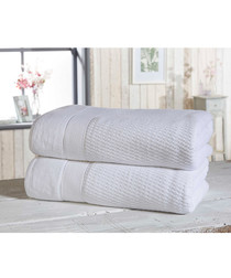 2pc white cotton bath sheet bale