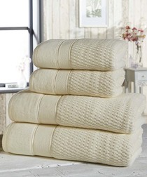 4pc cream cotton towel bale
