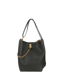 Black leather chain shoulder bag