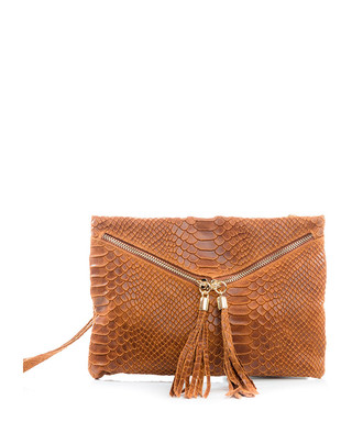 c6356ad980 Cognac leather moc-croc clutch Sale - lucca baldi Sale