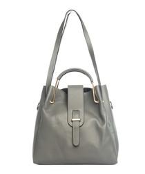 Dark grey leather shoulder bag