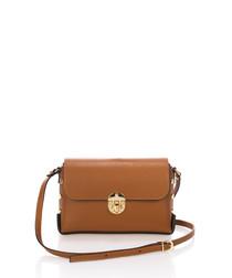 Cognac leather cross body bag