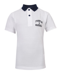 Boys' white pure cotton polo shirt