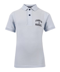 Boys' blue pure cotton polo shirt