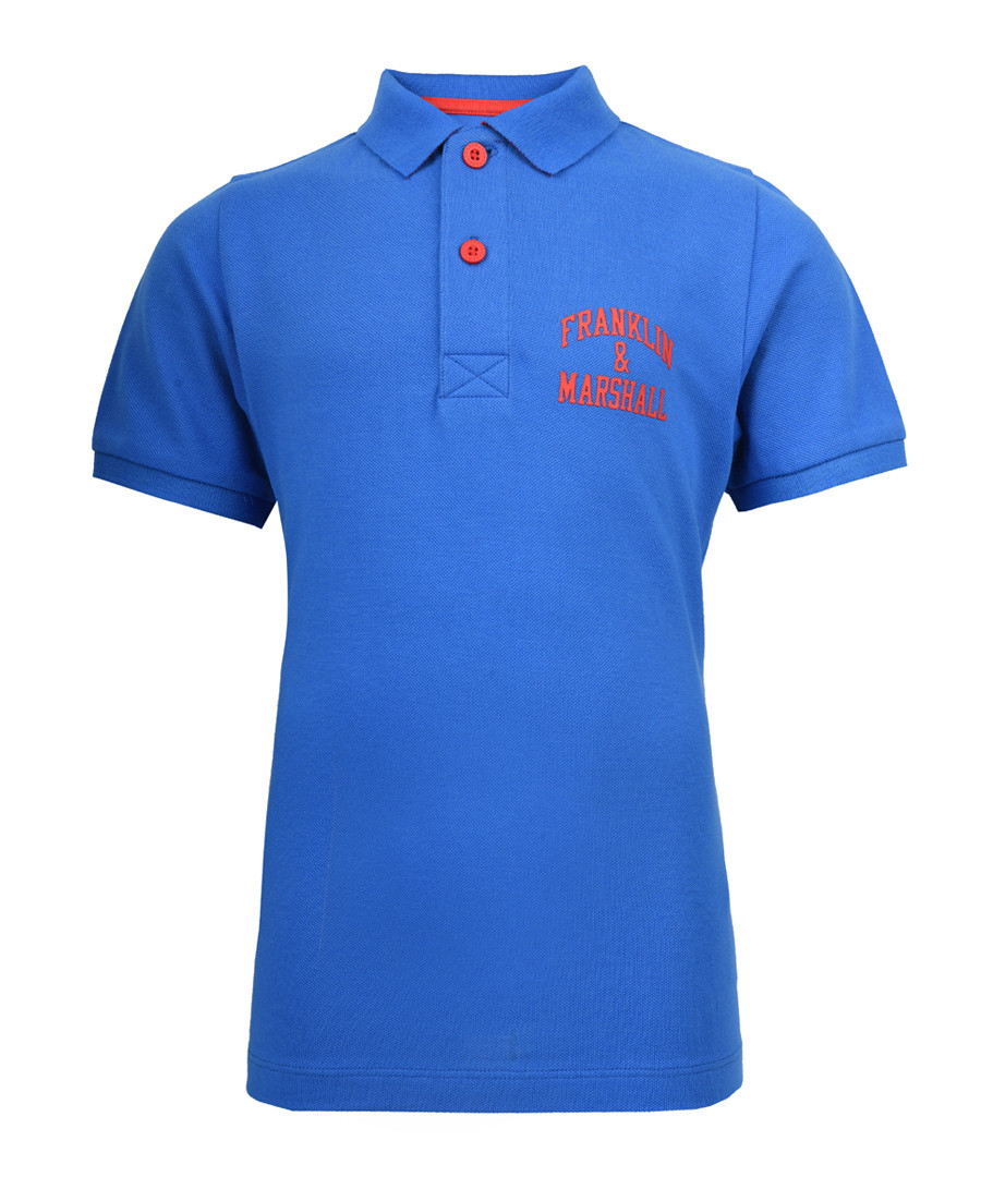 Boys' blue pure cotton polo shirt Sale - Franklin & Marshall