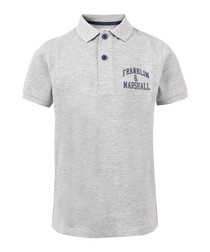 Boys' grey pure cotton polo shirt