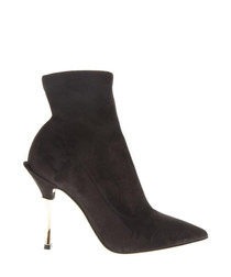 Black suede pointed heel ankle boots