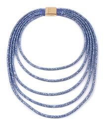 Blue & gold-tone multi-strand necklace