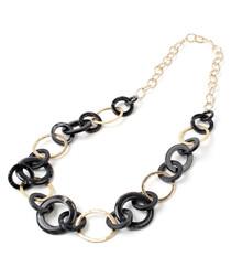 Black & gold-tone link necklace