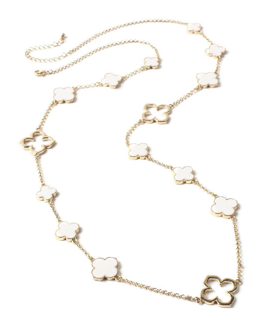 Gold-tone & ivory clover necklace Sale - amrita singh