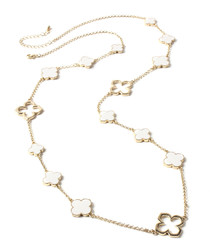Gold-tone & ivory clover necklace