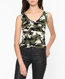 Green wool blend camouflage top