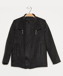 Boys' anthracite wool blend coat