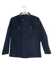 Boys' dark blue wool blend coat