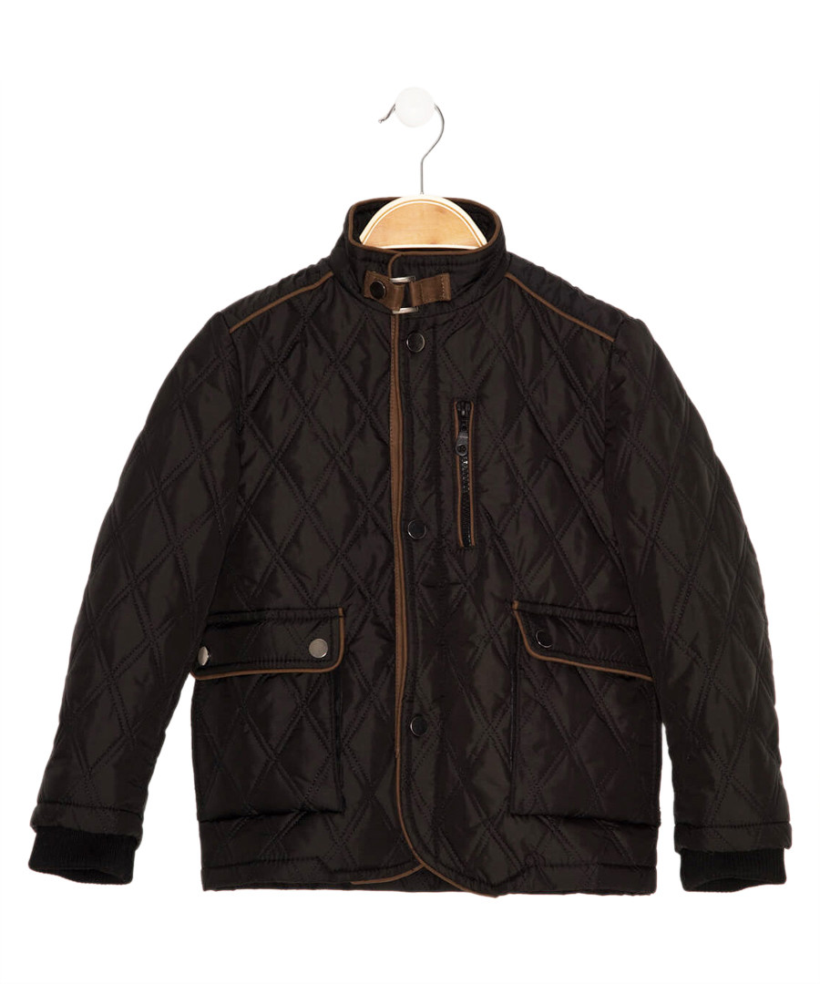Boys' black quilted coat Sale - Dewberry