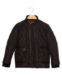 Boys' black quilted coat