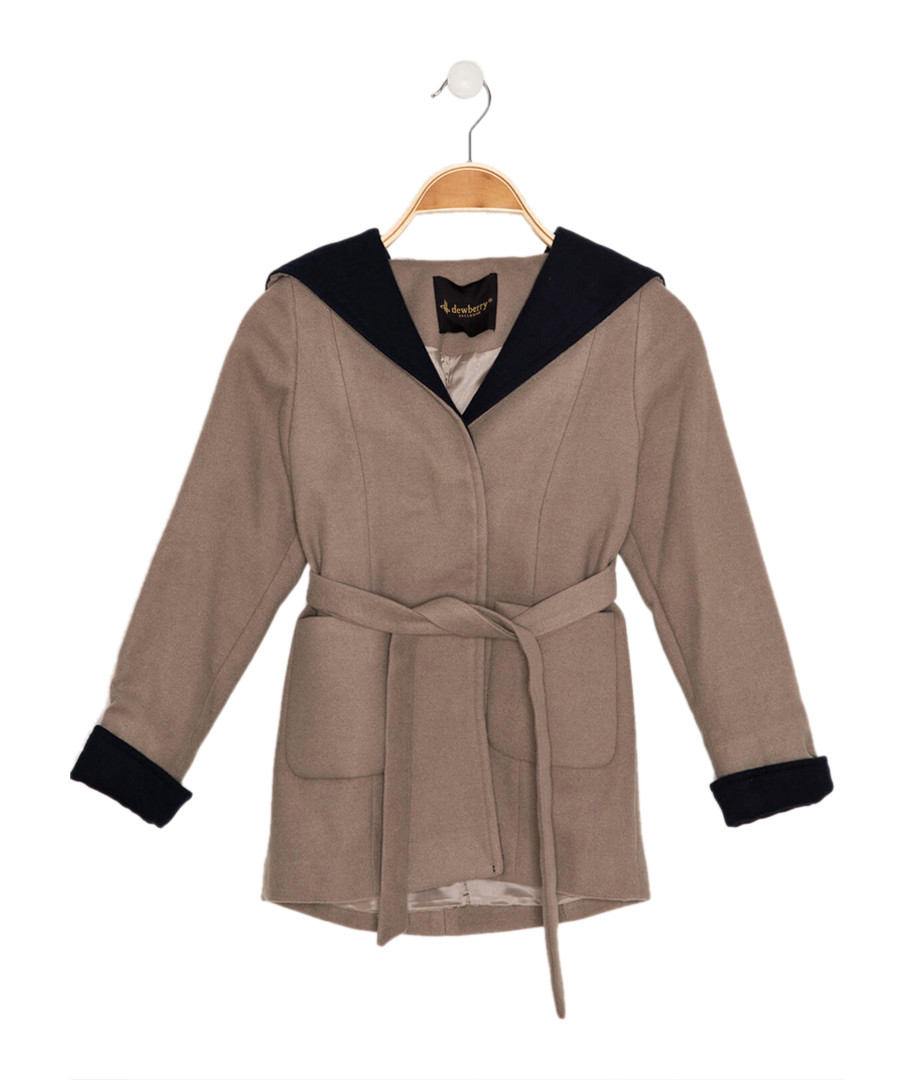 Girls' beige hooded wrap coat Sale - Dewberry