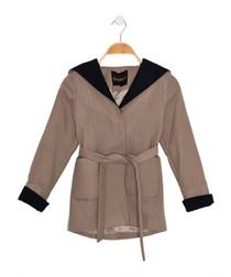 Girls' beige hooded wrap coat