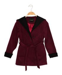 Girls' burgundy hooded wrap coat