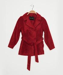 Girls' burgundy wool blend wrap coat