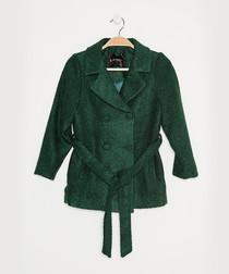 Girls' green wool blend wrap coat