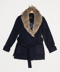 Girls' dark blue textured wrap coat