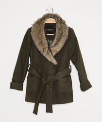 Girls' khaki textured wrap coat