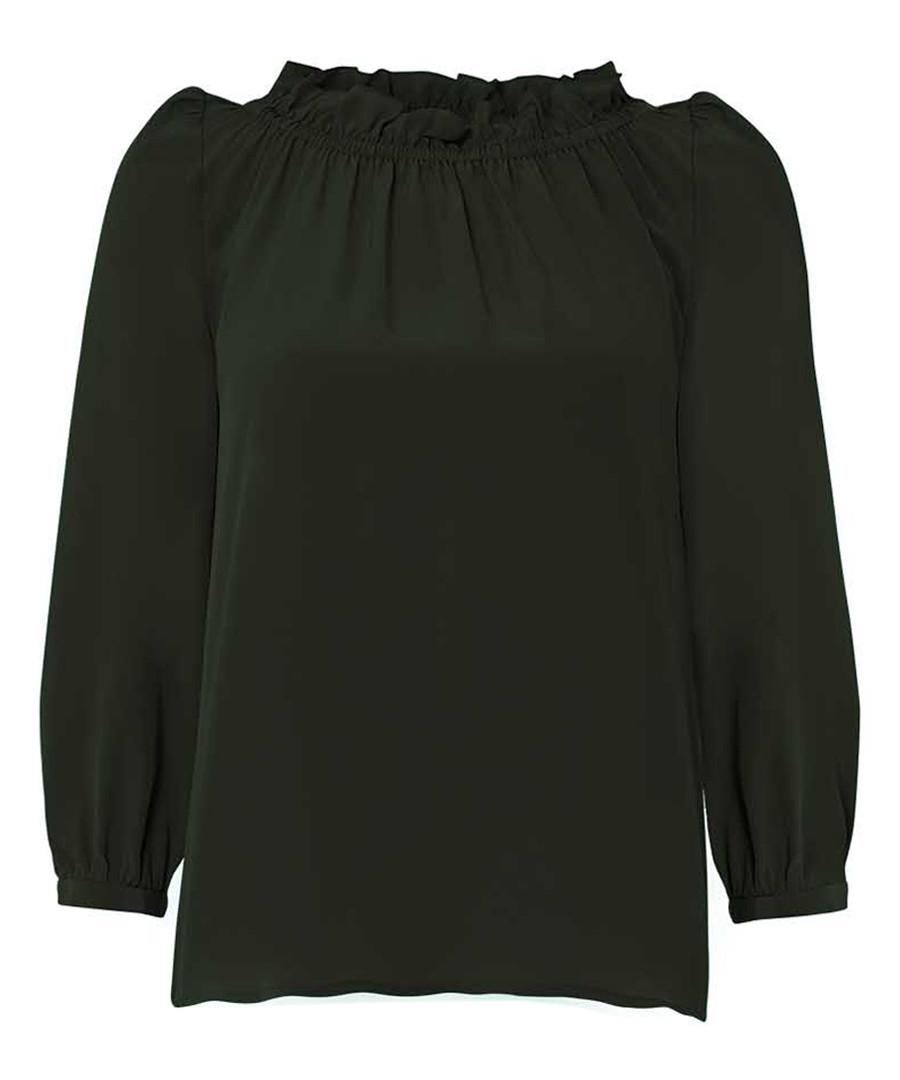 Renoir khaki pure silk frill blouse Sale - goat