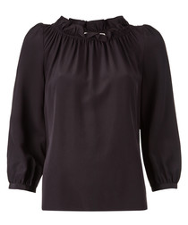 Renoir black pure silk frill blouse