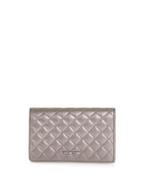 Pewter quilted flap cross body bag