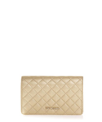 Gold-tone quilted cross body bag