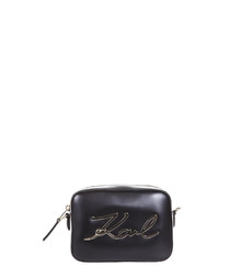 Black leather zip-around camera bag