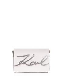 White leather signature cross body bag