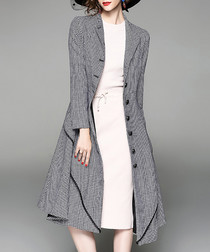 Grey button-up belted coat