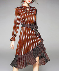 Brown cotton blend polka dot dress