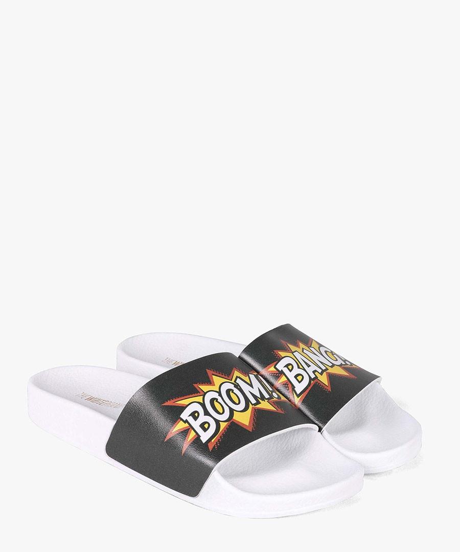 White comic print slip-ons Sale - The White Brand