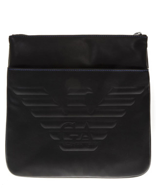 875f5d4b6f2b Black embossed logo messenger bag Sale - Emporio Armani Sale