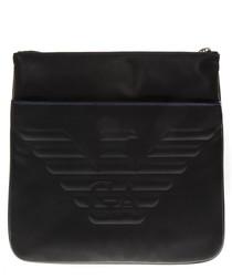 Black embossed logo messenger bag