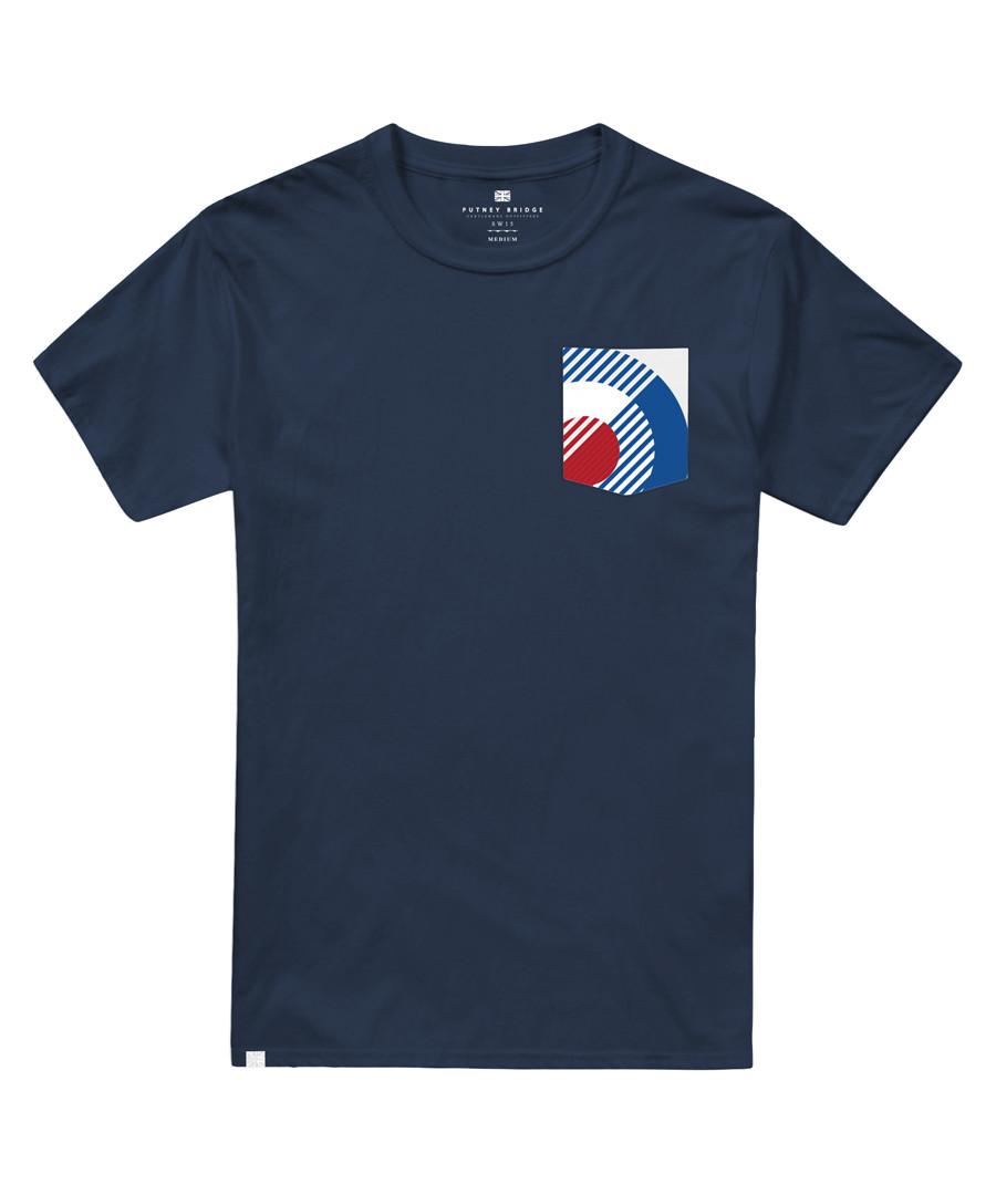 Navy pure cotton target T-shirt Sale - putney bridge