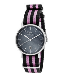 Nantucket silver-tone stripe watch