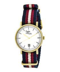 Nantucket gold-tone & red watch