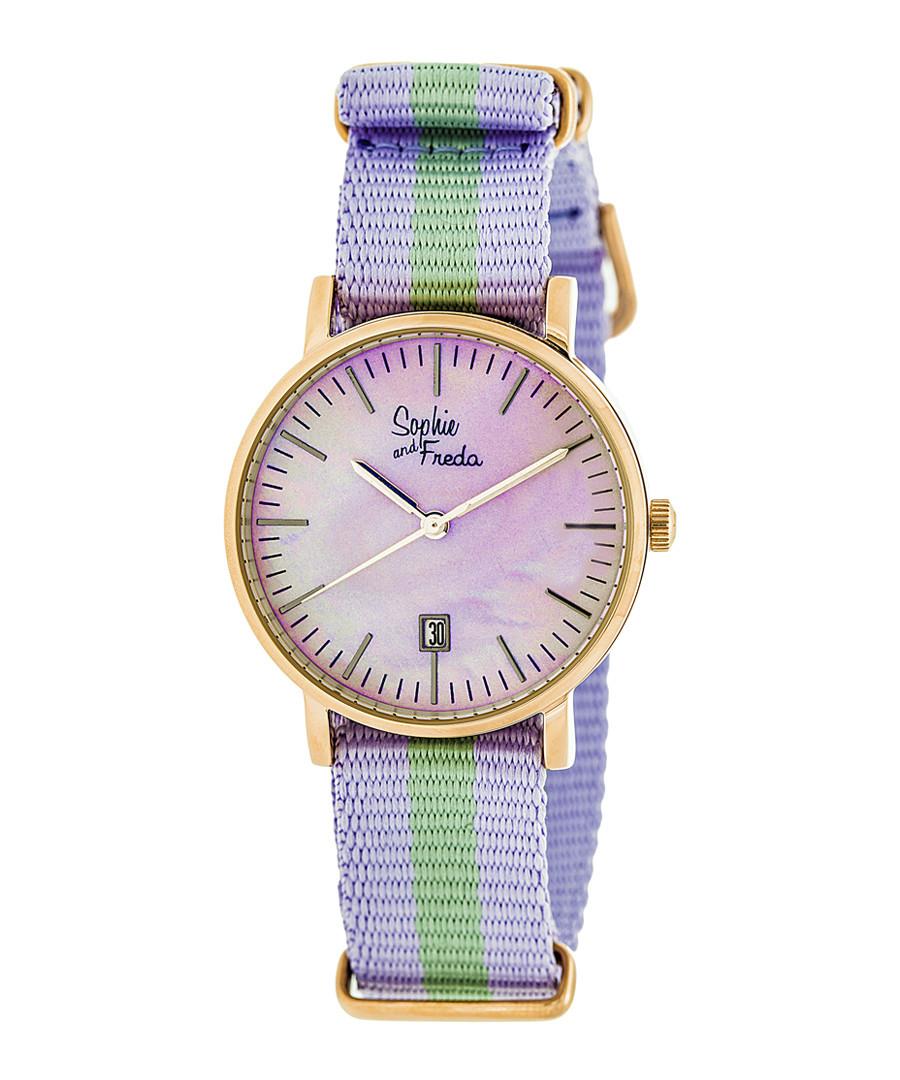 Nantucket purple & green stripe watch Sale - sophie & freda